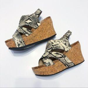 Pierre Dumas Snake Skin Cork Wedges Size 7